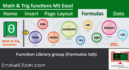 Math Trig button functions of Function Library group MS Excel