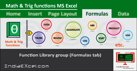 Math Trig button functions Formulas tab Microsoft Excel