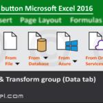 New Query button description of Get & Transform group Excel