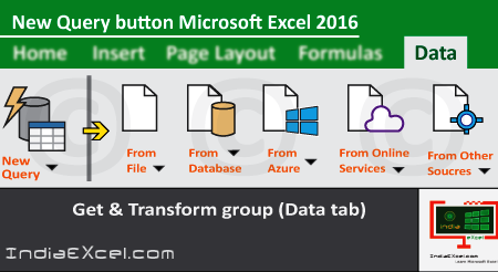 New Query button description of Get & Transform group Excel