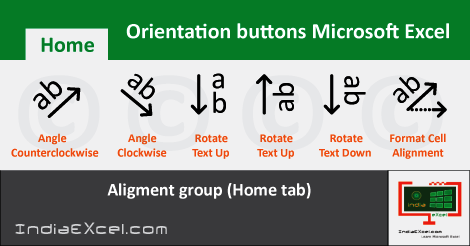 Orientation buttons Home tab MS Excel