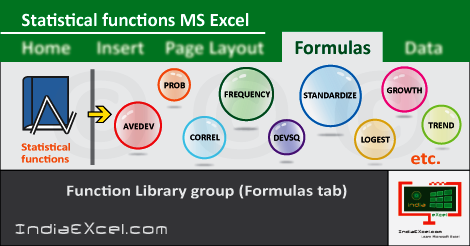 Statistical button functions Formulas tab Microsoft Excel
