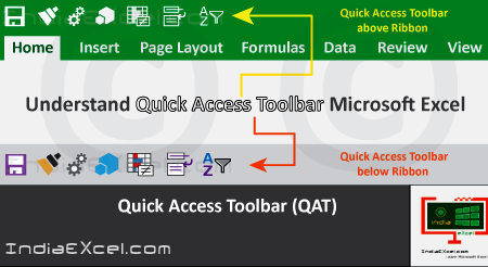 Understand Quick Access Toolbar (QAT) in MS Excel