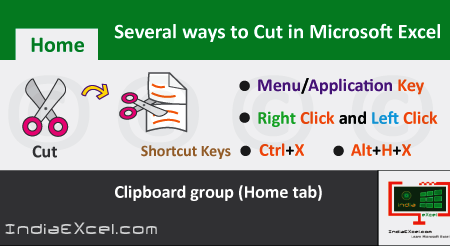 Various ways to Cut data or content MS Excel 2016