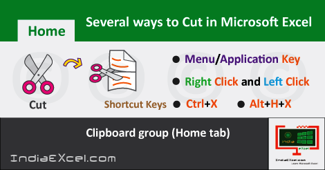 Different ways Cut data content Microsoft Excel