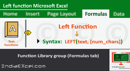 Left function of Text functions in Microsoft Excel 2016