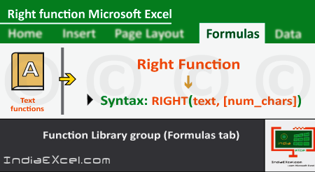Right function of Formulas tab in Microsoft Excel