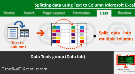 Splitting data using Text to Columns button worksheet MS Excel
