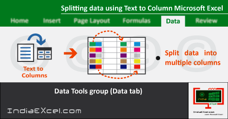 Split data using Text Columns button MS Excel 2016