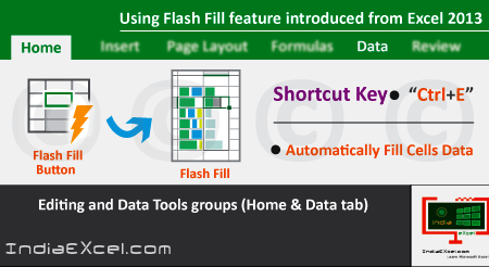 Using Flash Fill feature introduced from Microsoft Excel 2013