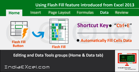 Flash Fill button feature introduced in MS Excel 2013