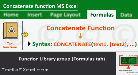 Concatenate function of Formulas tab in Microsoft Excel