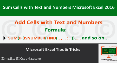 Sum Cells Text Numbers within same Cell Microsoft Excel