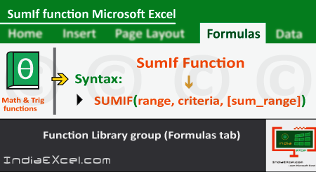 SumIf function of Math Trig functions in Microsoft Excel 2016
