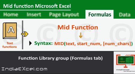 Mid function of Text functions in Microsoft Excel 2016